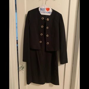 Tahari ASL Black Dress Suit with LS Jacket